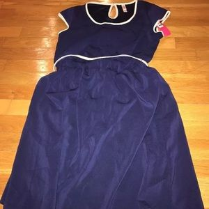 Target navy belted dress m nwt
